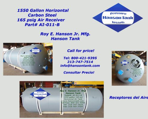 1500 gallon horizontal air receiver