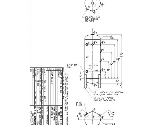 80 gallon 300 psig vertical abs tank drawing with legs