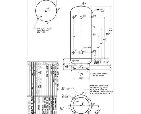 30va240r vertical air receiver 200 psig 240 gallon abs and uscg tank