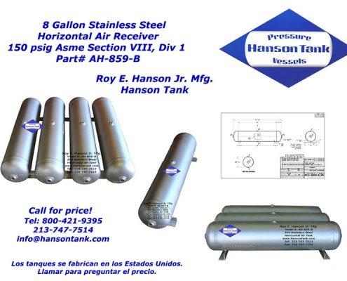 ah-859-b horizontal stainless steel air receiver