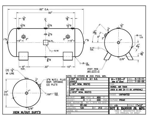 h120f abs uscg horizontal 120 gallon 200 psig air receiver