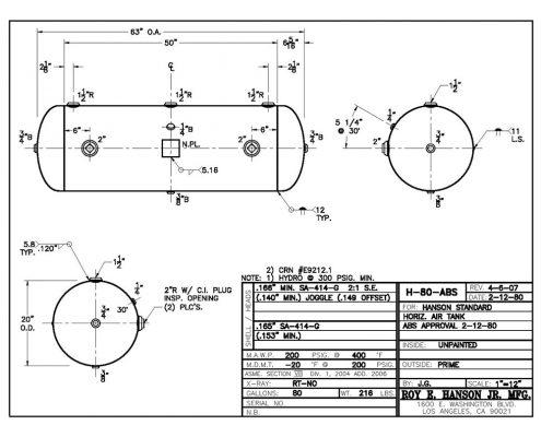 h-80-abs 200 psig horizontal 80 gallon abs air receiver