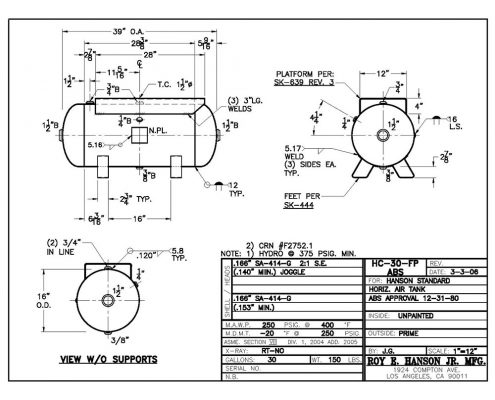 hc-30-fp abs tank drawing 30 gallon 350 psig pressure vessel