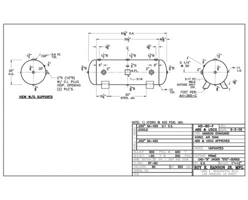 hd-80-f 80 gallon 300 psig abs uscg tank drawing
