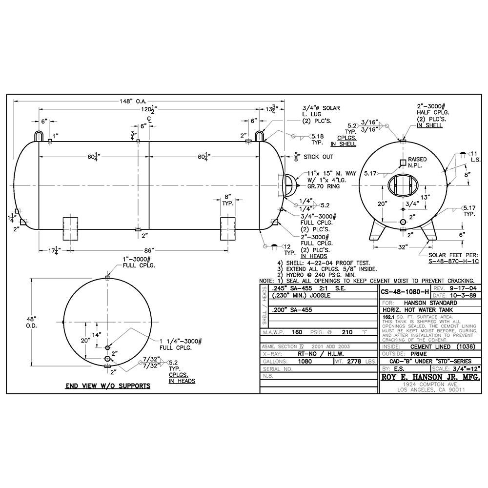CS-48-1080-H Tanque de almacenamiento de agua caliente