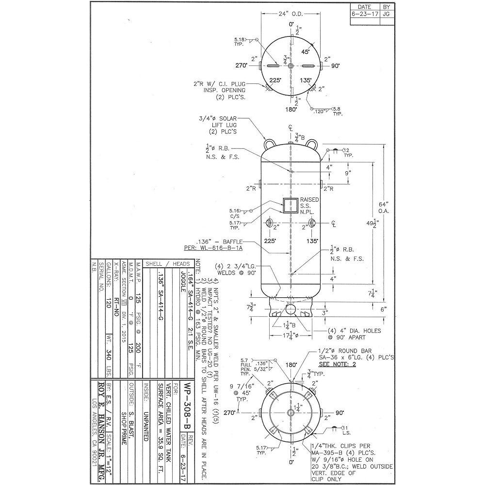 WP-308-B chilled water buffer tank