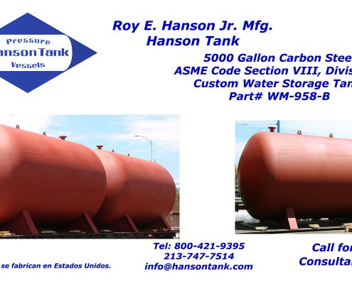 5000 gallon horizontal cement lined tank