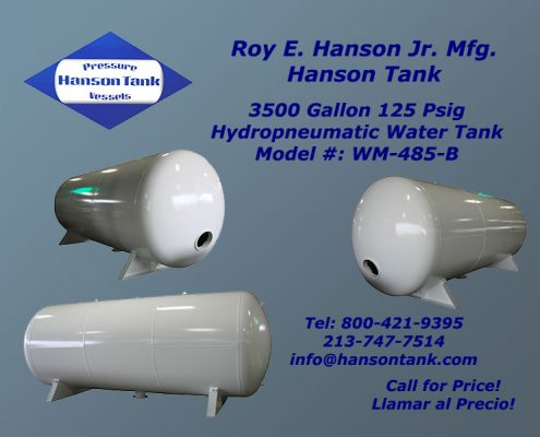 wm-485-b 3500 gallon hydropneumatic tank