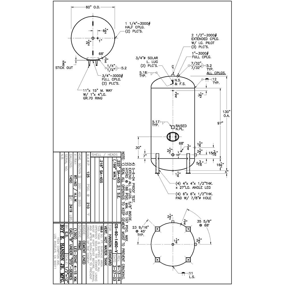 CS-60-1450-V Tanque de almacenamiento de agua caliente