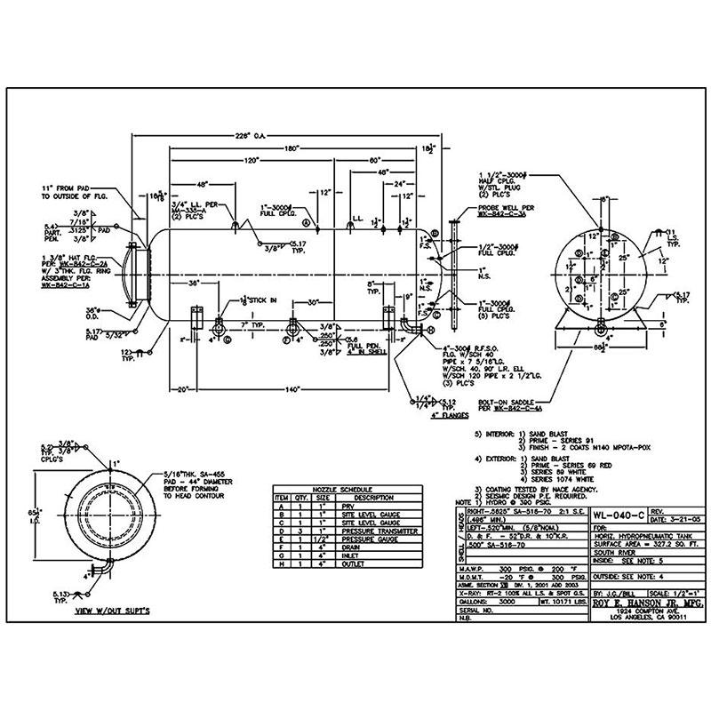WL-040-C Tanque de almacenamiento de hidropneumatico width=
