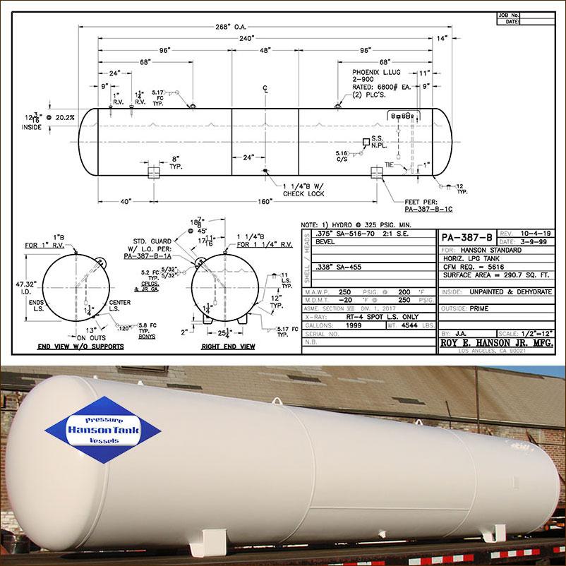 PA-387-B 1999 gallon horizontal lpg tank