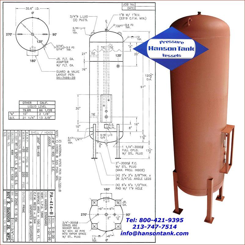 PA-414-B 499 gallon vertical lpg tank