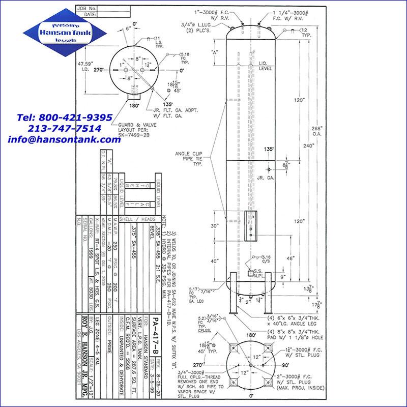 PA-417-B 1999 gallon vertical lpg tank