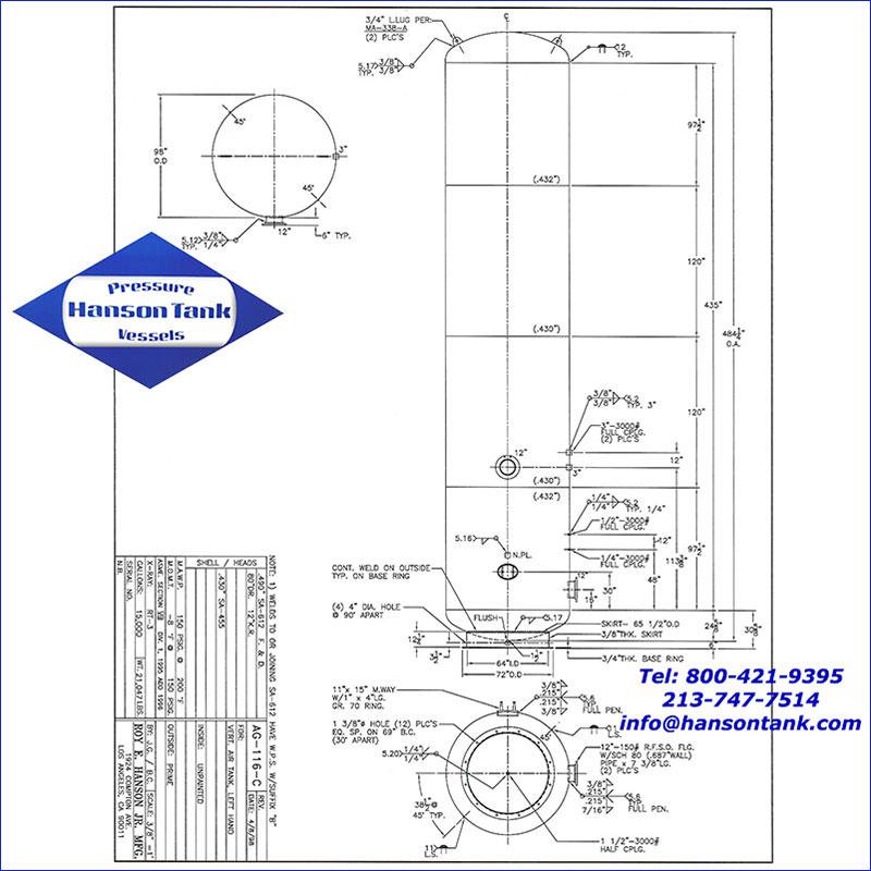 AG-116-C 15000 gallon vertical air receiver