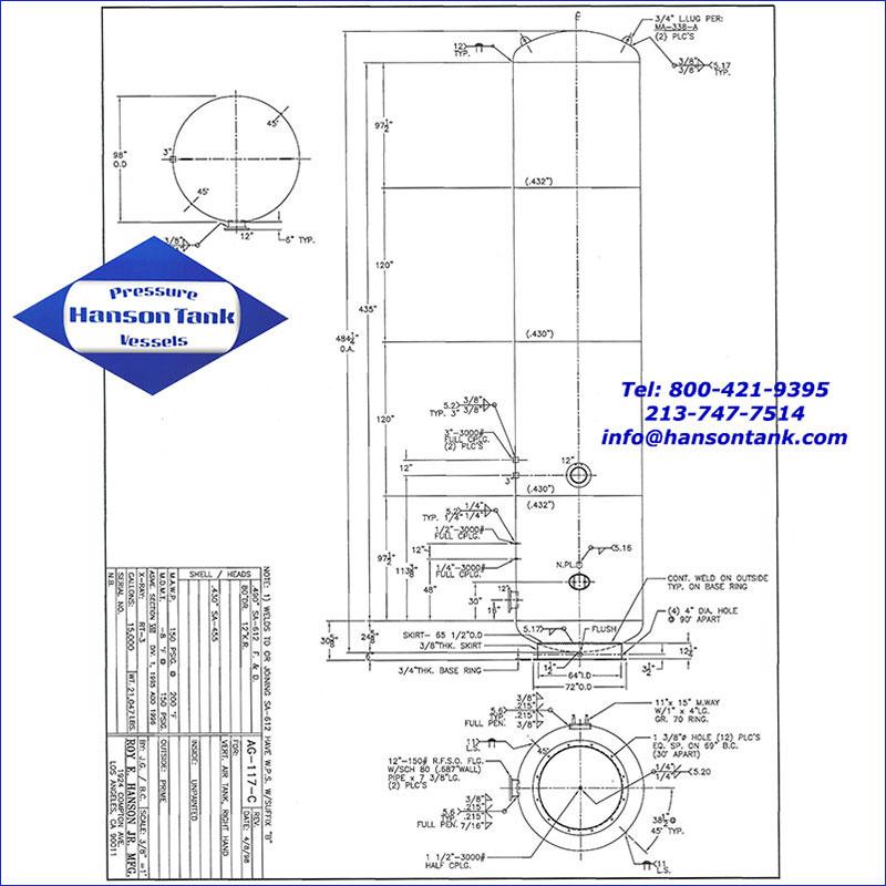 AG-117-C 15000 gallon vertical air receiver