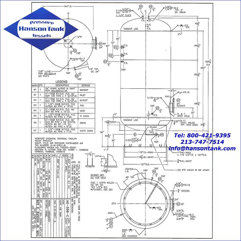 AG--598-C 21000 gallon vertical air receiver