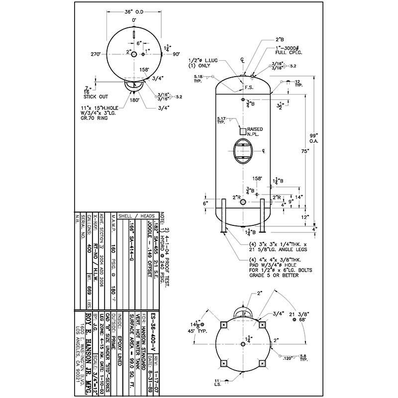 ES-36-400-V 400 gallon vertical hot water tank