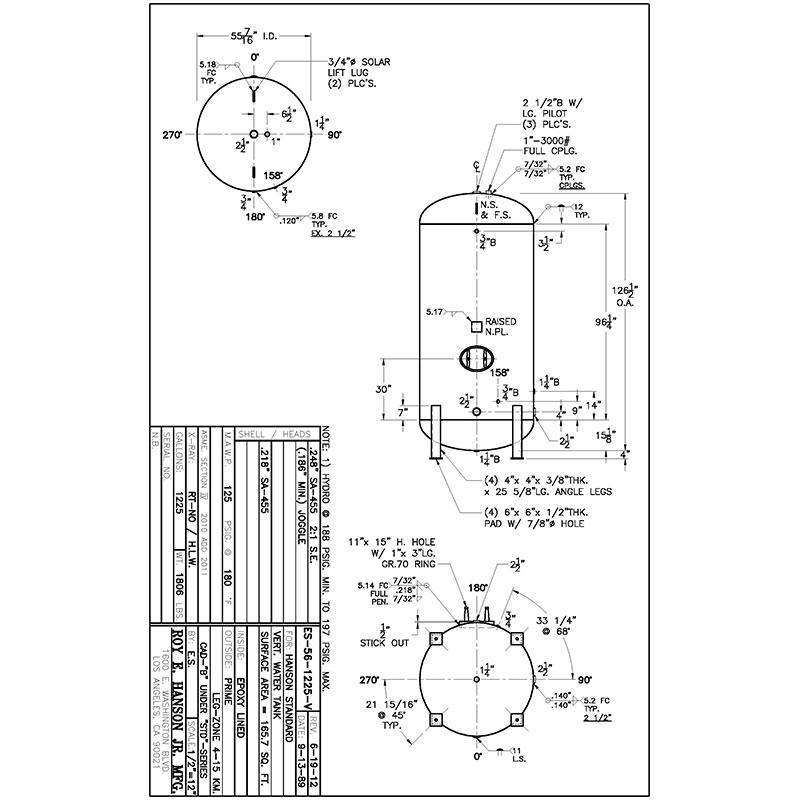 ES-56-1225-V 1225 gallon vertical hot water tank