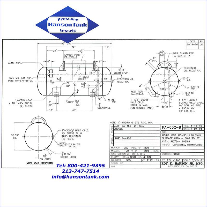 PA-632-B 385 gallon dot propane tank