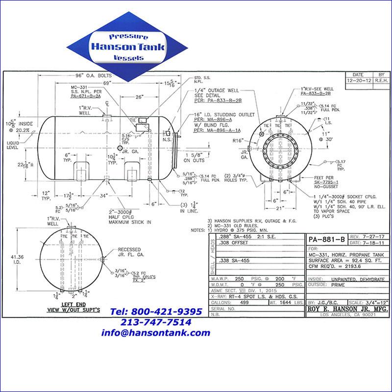 PA-881-B 499 gallon dot propane tank