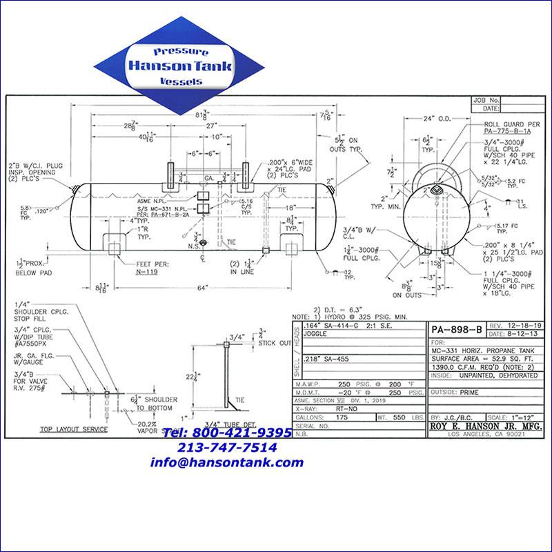 PA-898-B 175 gallon dot propane tank