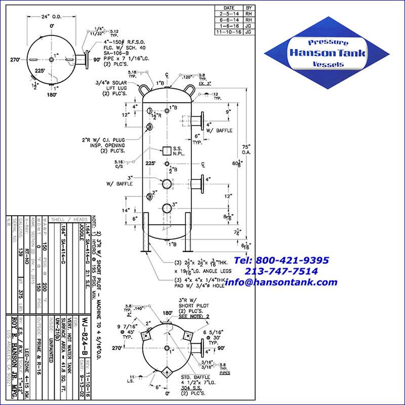 WJ-824-B 139 gallon vertical hot water buffer tank