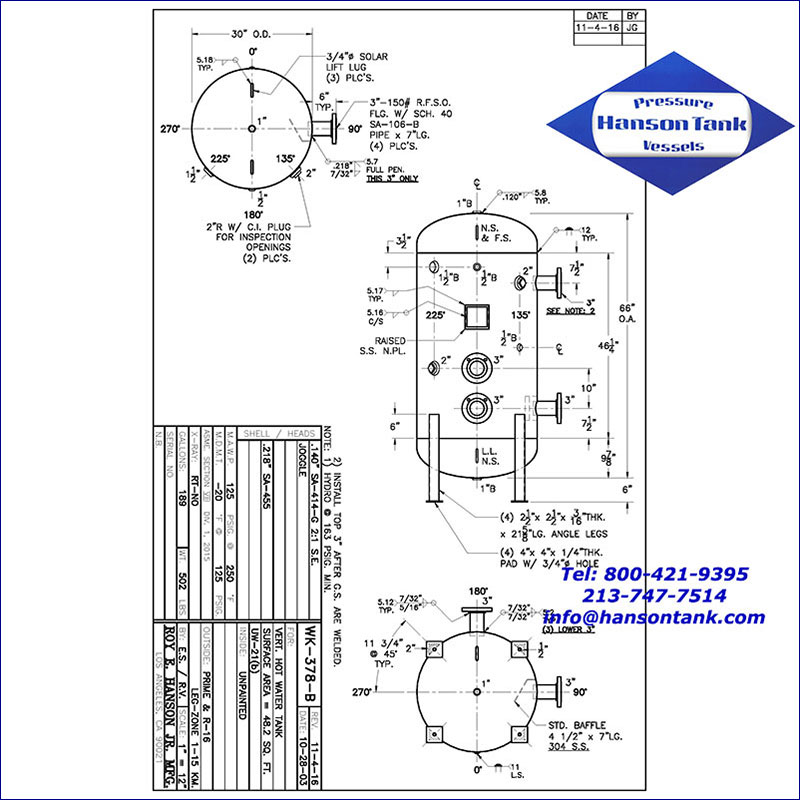 WK-378-B 189 gallon vertical hot water buffer tank