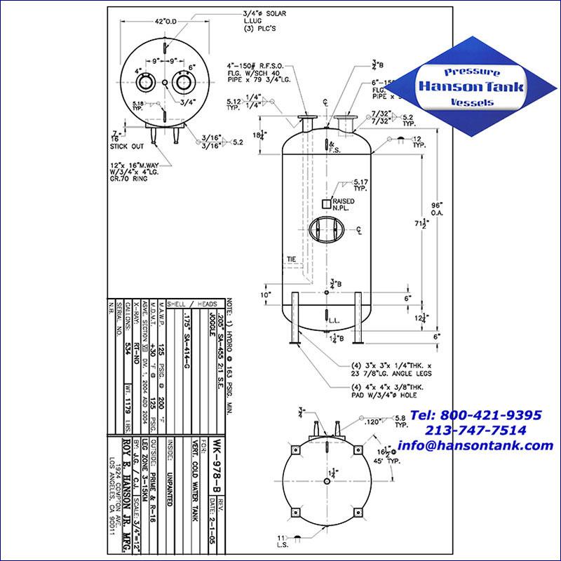 WL-978-B 534 gallon vertical cold water tank