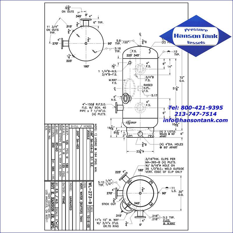 WL-273-B 200 gallon vertical hot water buffer tank