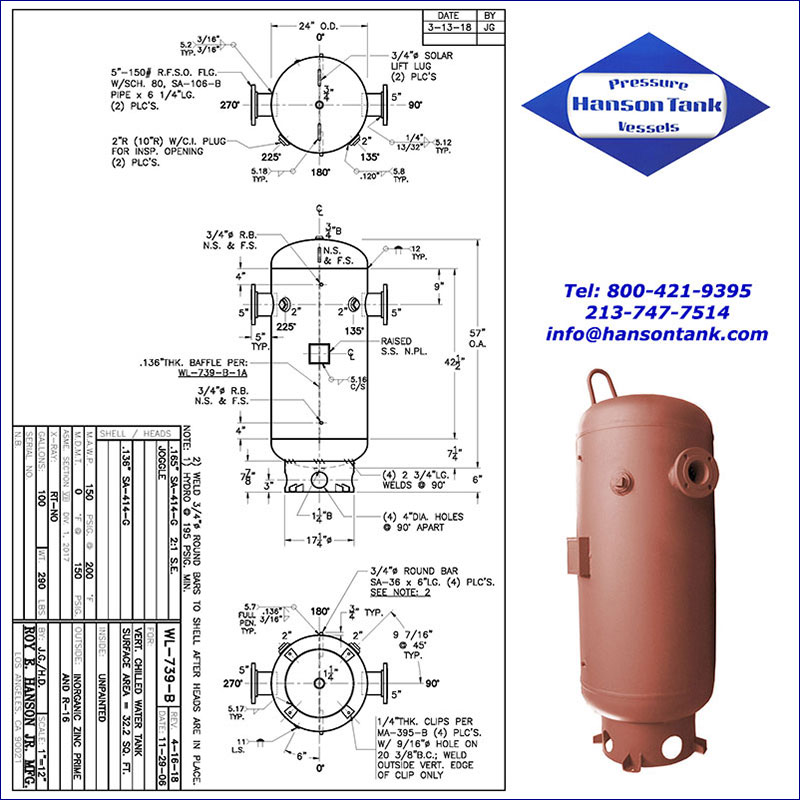 WL-739-B 100 gallon vertical chilled water tank