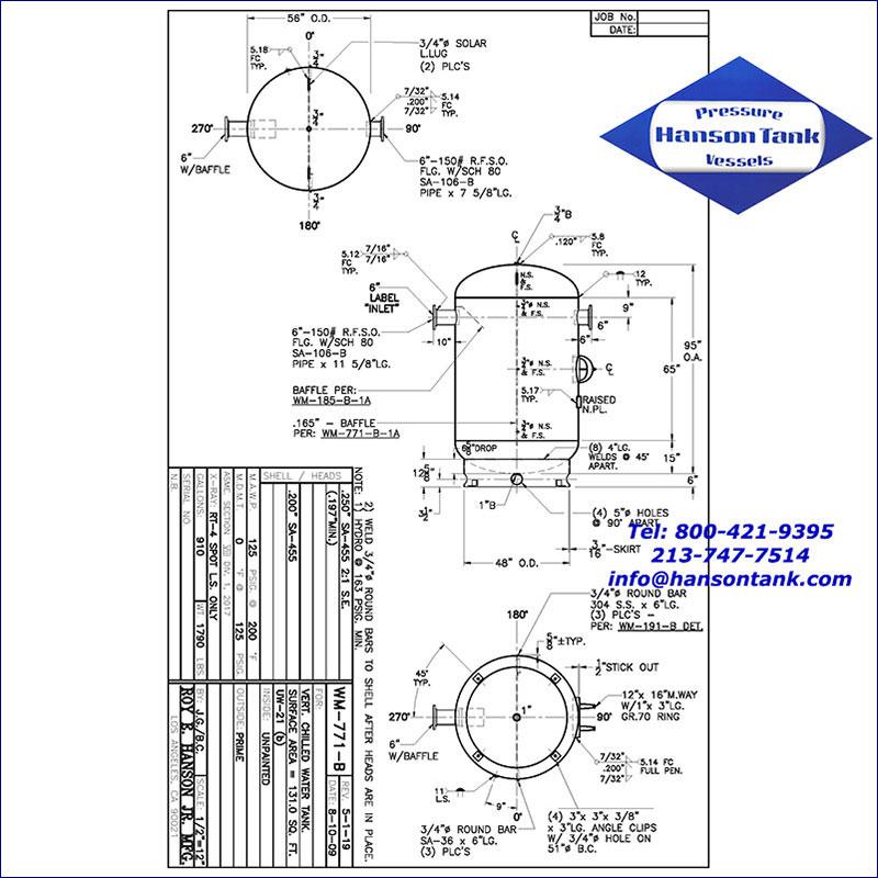 WM-771-B 910 gallon vertical chilled water tank