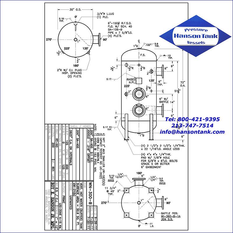 WN-300-B 200 gallon vertical hot water buffer tank