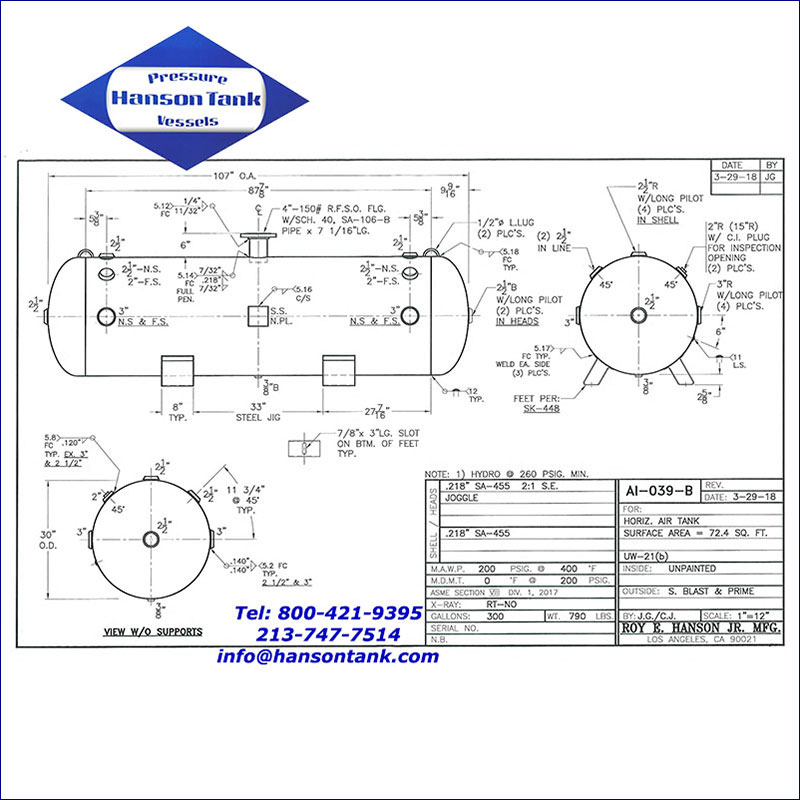 AI-039-B 300 gallon horizontal air receiver