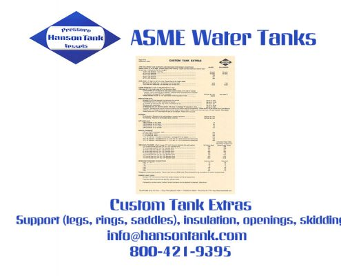 Water Tank Price List 6 - Custom Tank Extras