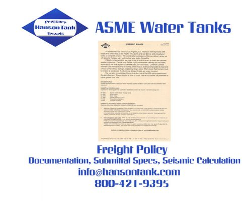 Water Tank Price List 9 - Freight Policy