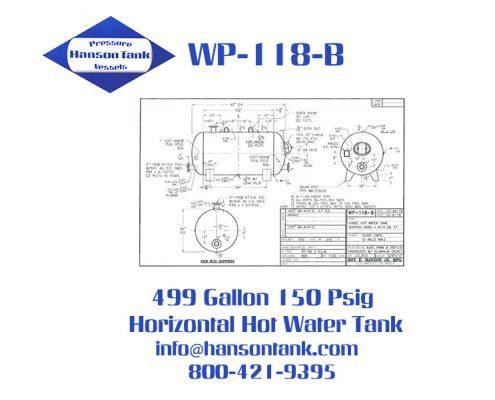 wp-118-b horizontal glass lined hot water tank