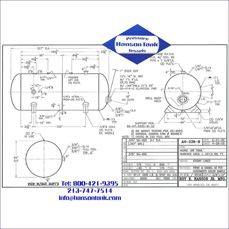 AH-238-B 5000 gallon horizontal custom air receiver