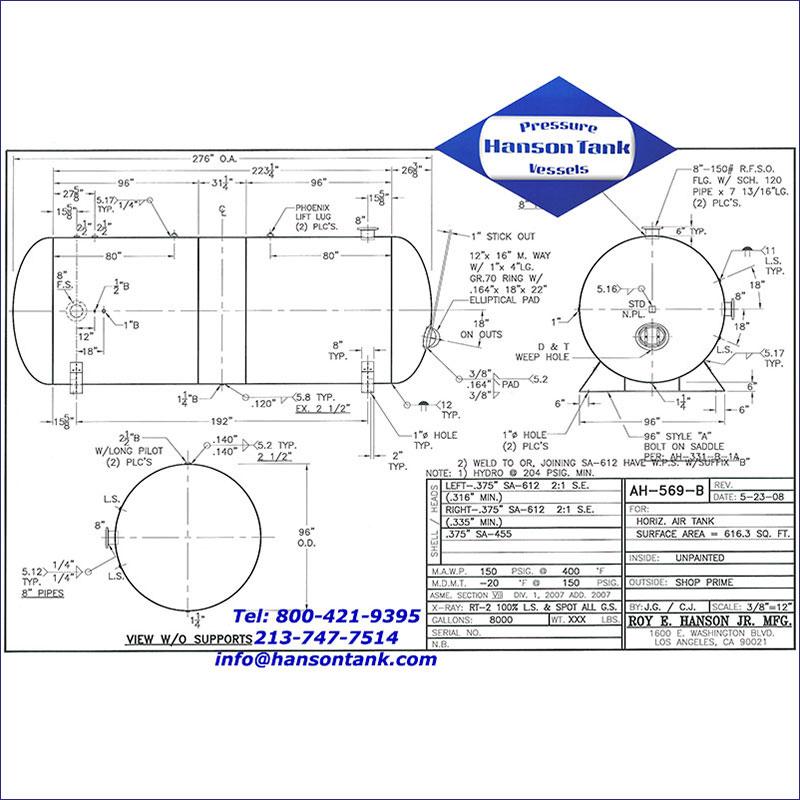 AH-569-B 8000 gallon horizontal custom air receiver