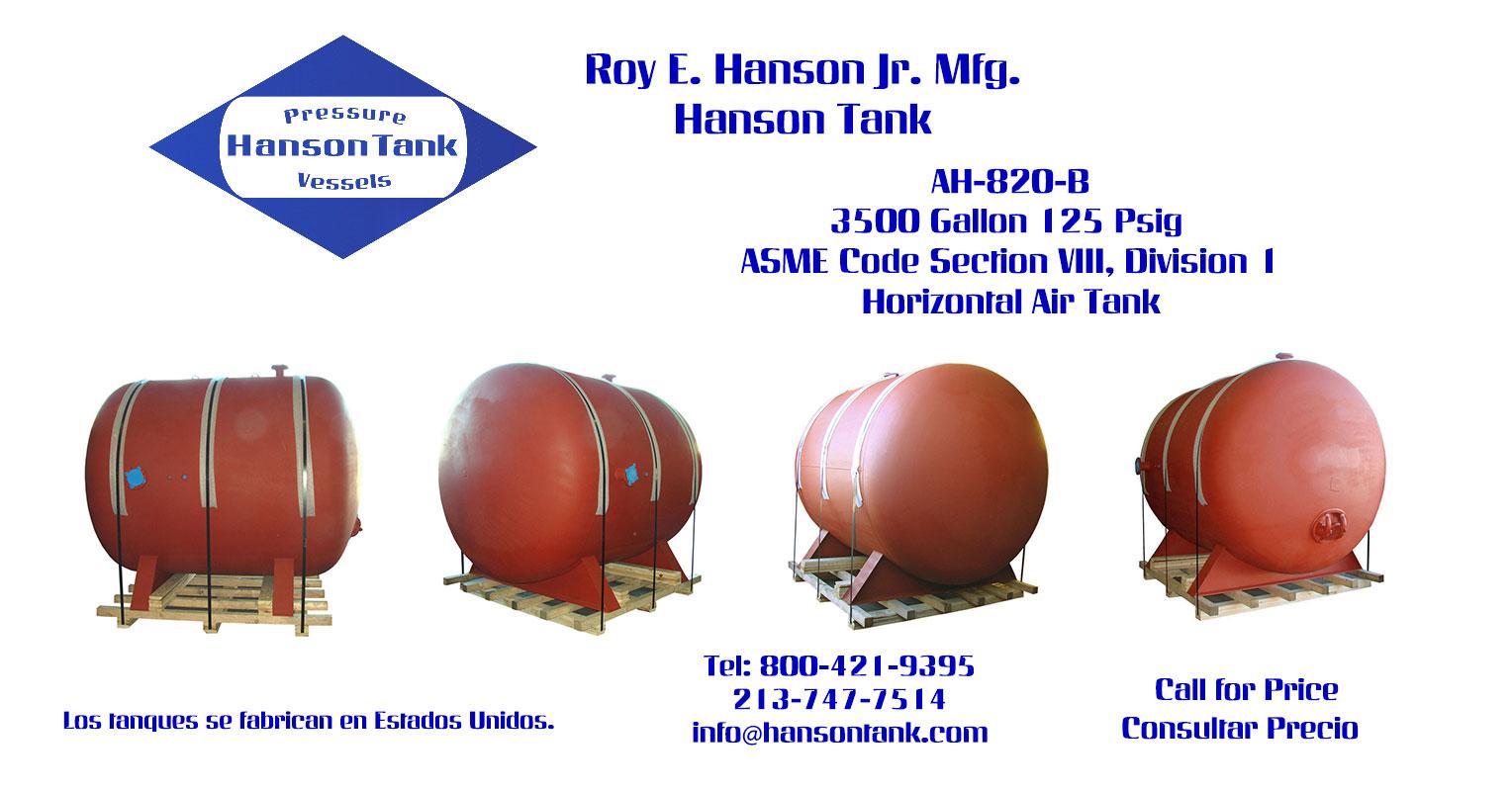 AH-820-B 3500 Gallon Horizontal Custom Tank