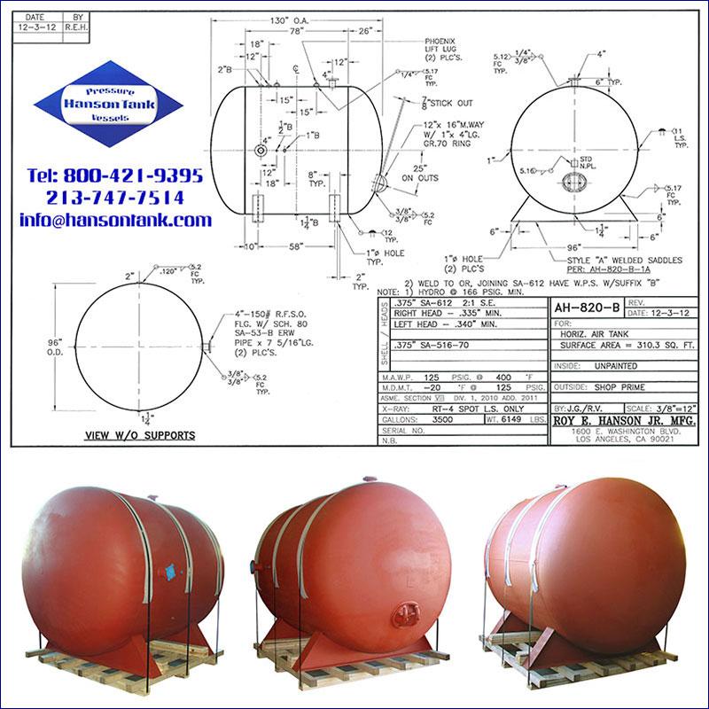 AH-820-B 3500 gallon horizontal custom air receiver