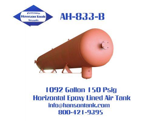 ah-833-b horizontal epoxy lined air tank