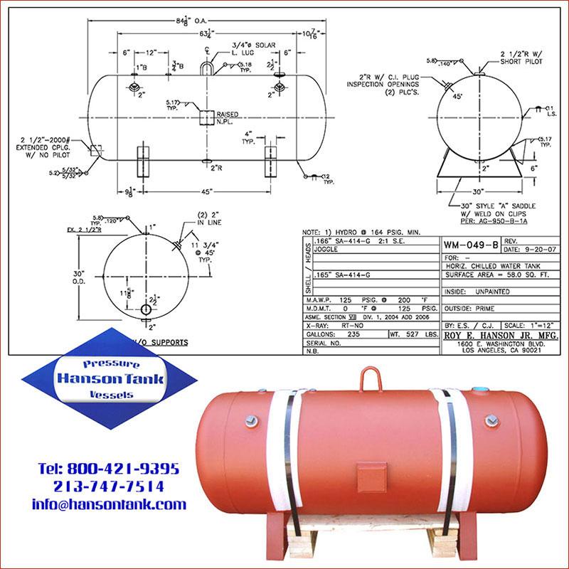 WM-047-B 235 gallon horizontal chilled water tank