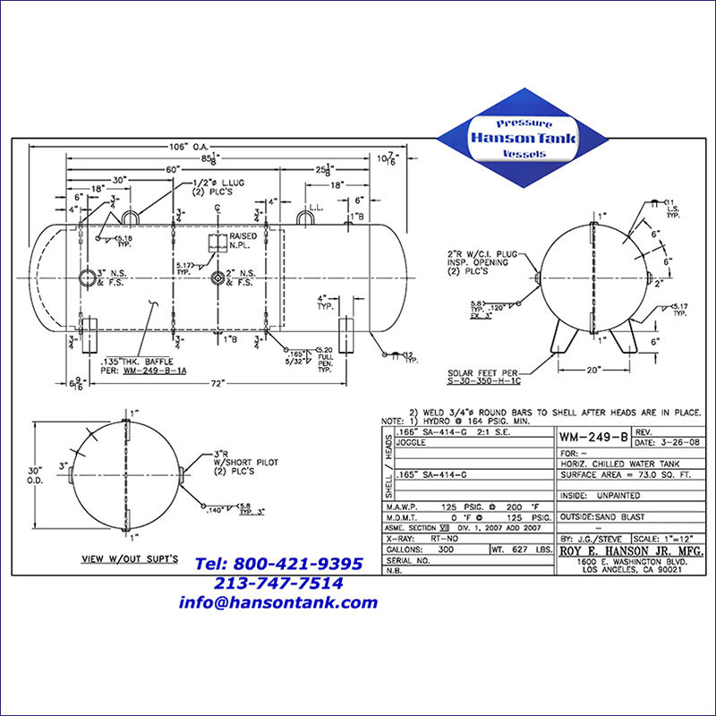 WM-249-B 300 gallon horizontal chilled water tank