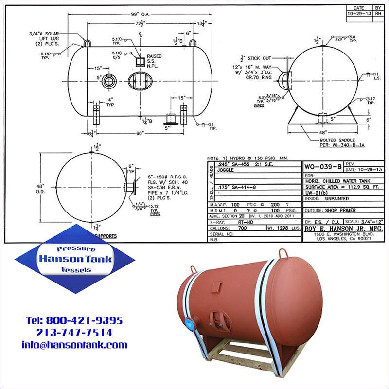 WO-039-B 700 gallon horizontal chilled water tank