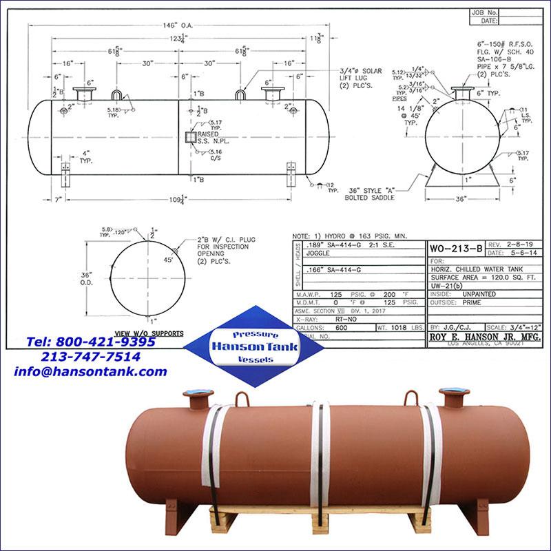 WO-213-B 600 gallon horizontal chilled water tank