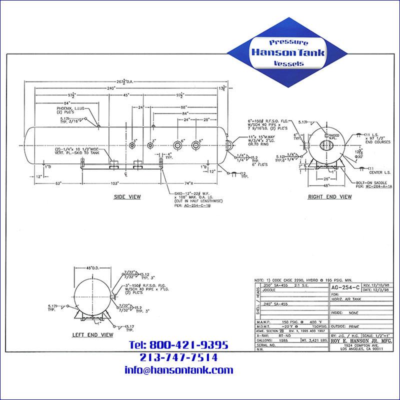 AG-254-C 2520 gallon horizontal custom air receiver