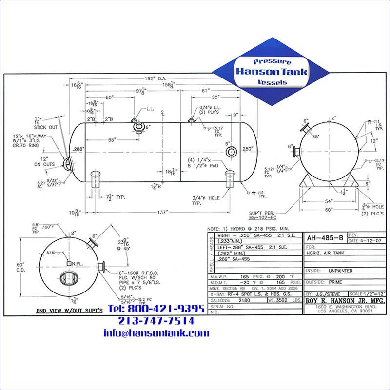 AH-485-B 2180 gallon horizontal custom air receiver