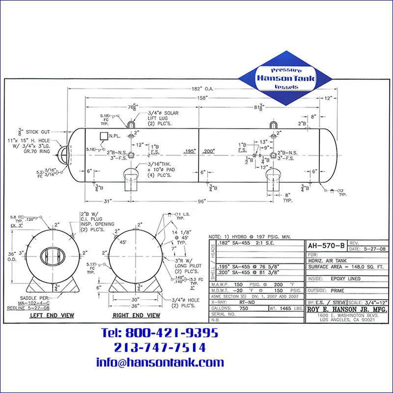 AH-570-B 750 gallon horizontal custom air receiver