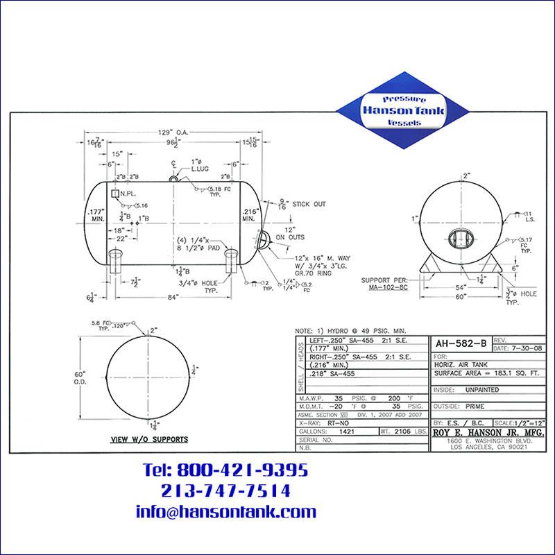 AH-582-B 1421 gallon horizontal custom air receiver
