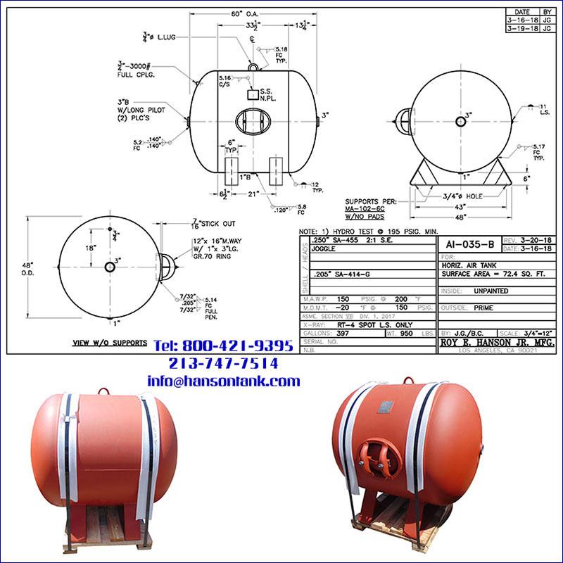 AI-035-B 397 gallon horizontal custom air receiver